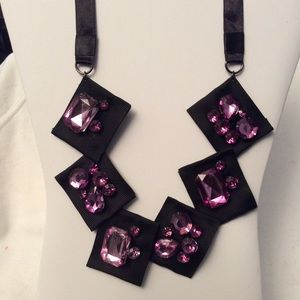 Black Ribbons & Purple Stones Necklace